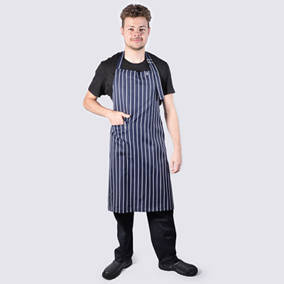 Chef Bib Aprons Navy Striped Buckle