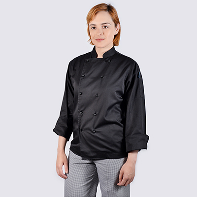 Chef jackets Black Long Sleeve with Black Buttons