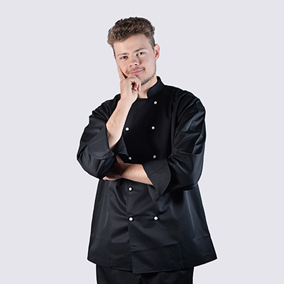 Chef jackets Black Long Sleeve with White Buttons