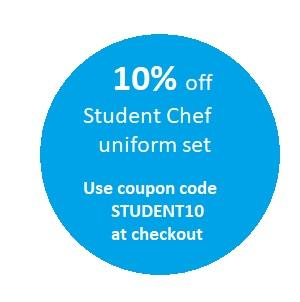 10% off purchase of student chef uniform kit