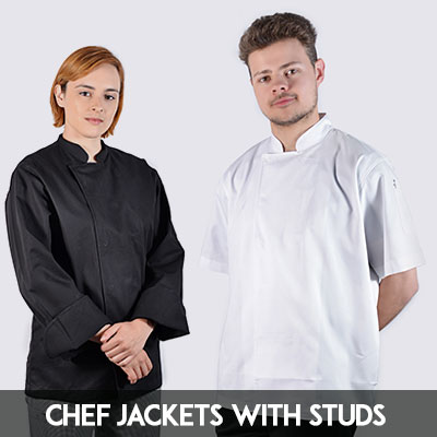 Chef jacket with hidden stud buttons