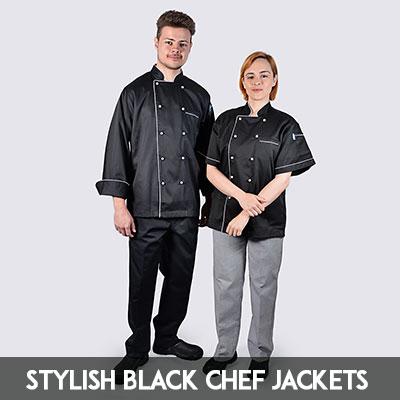 stylish professional black chef jackets