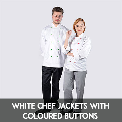 white chef jacket with coloured buttons