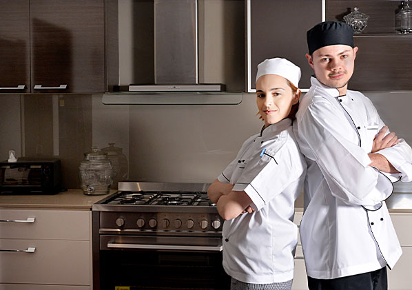 Chef uniforms, chef caps, professional chef piping jackets