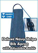 Deluxe Navy and White Bib Aprons