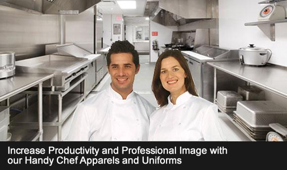 Increase Productivity and professional image with our Handy chef Apparels and Uniforms