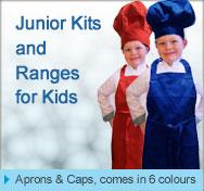 kids aprons and caps children hospitality uniforms