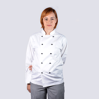 100% Cotton Luxurious Chef Jackets White Long Sleeve with Black Buttons