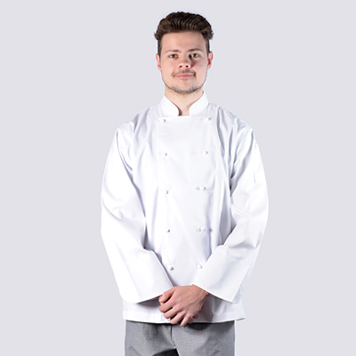 Chef 100% Cotton Luxurious Jackets White Long Sleeve wth White Buttons