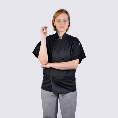 100% cotton Luxurious chef jackets in black short sleeve with black buttons