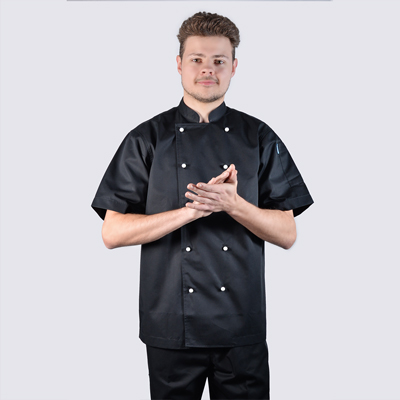 100% Cotton Luxurious Chef jackets Black Short Sleeve White Buttons
