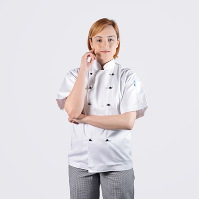 100% cotton luxurious Chef jackets White Short Sleeve with Black Buttons