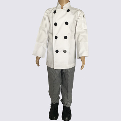 Kids Chef Jacket and Pant Black Buttons set