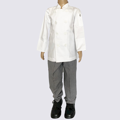 Kids Chef Jacket and Pant set with white buttons