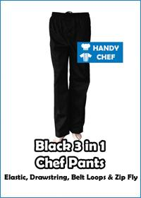 Black 3 in 1 Chef Pant