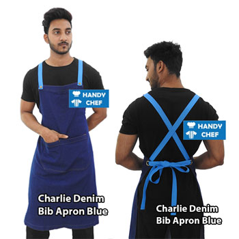 Charlie Denim Blue Bib Apron
