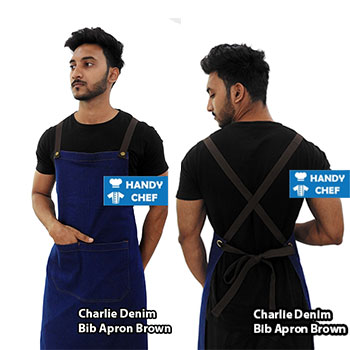 Charlie Denim Brown Bib Apron