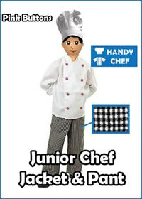Pink button kids junior chef uniform set