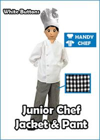 White button kids junior chef uniform set