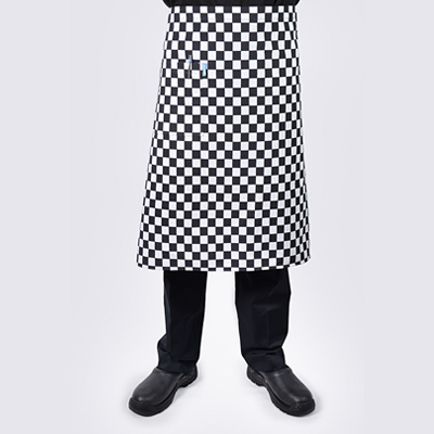 Checkered Long Chef Aprons with Pocket