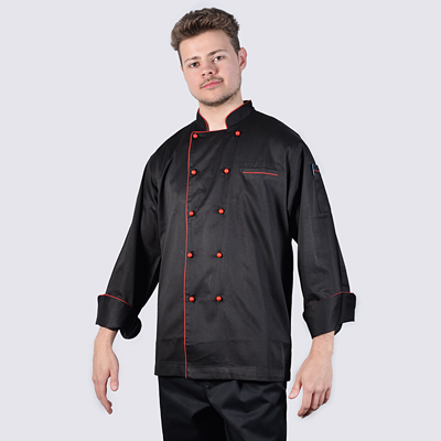 Chef Jacket Black Long Sleeve Red Piping