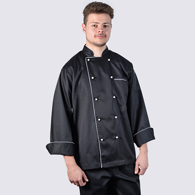 Chef Jacket Black Long Sleeve with White Trim