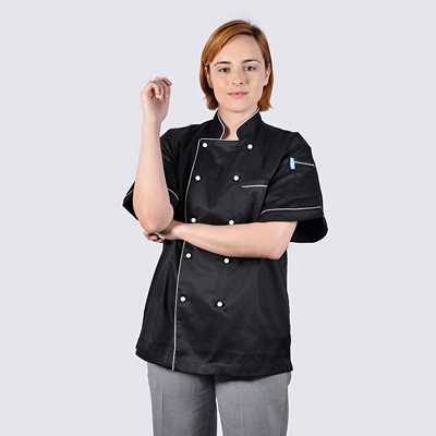 Chef Jackets Black White Piping Short Sleeve