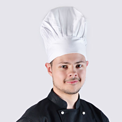 white bakery cap for professional hospitality bakers