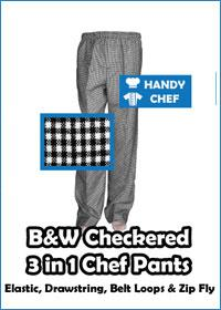 checkered 3 in 1 chef pants