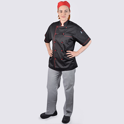 Black Chef Jacket Red Short Sleeve Check Pant Set