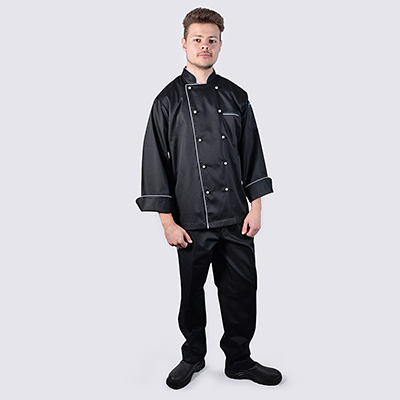 Black Chef jackets White Piping Long Sleeve Black Pant