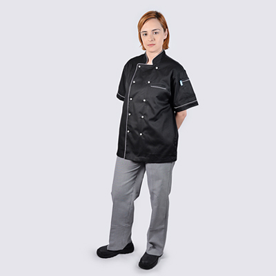 Black Chef jackets White Piping Short Sleeve Check Pant 400