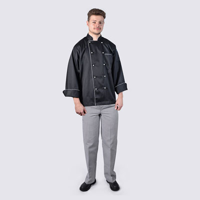 Chef Black Jacket Long Sleeve with White Piping and Checkered Pant