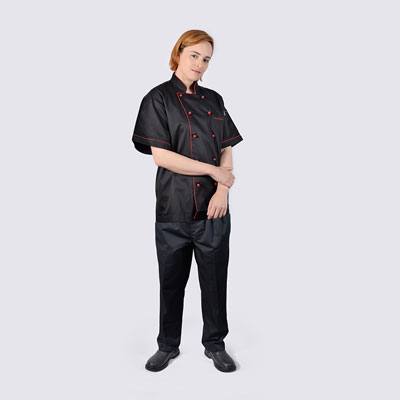 Chef Jacket Black with Red Piping Short Sleeve and Black Pant
