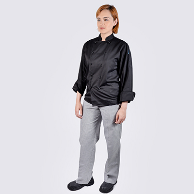 Chef jackets Black Long Sleeve Black Buttons Check Pant