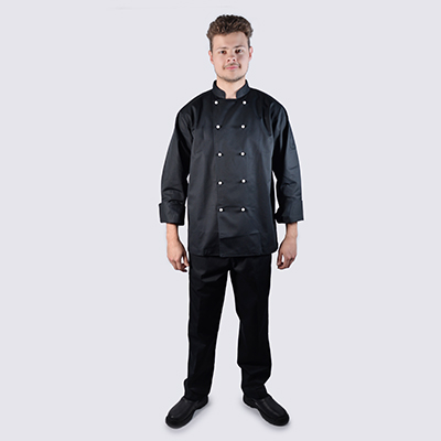 Chef jackets Black Long Sleeve White Buttons Black Pant Set