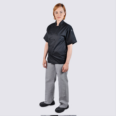 Chef jackets Black Short Sleeve Black Buttons Check Pant Set