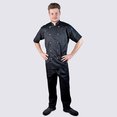Chef jackets Black Short Sleeve White Buttons Black Pant Set