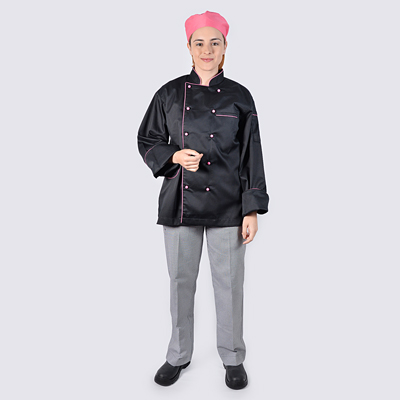 Chef jackets Pink Long Sleeve with Red Buttons and Check Pant