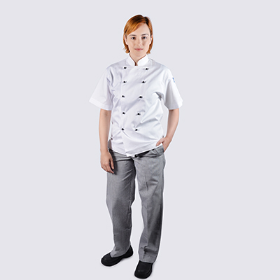 Chef jackets White Short Sleeve Black Buttons Chekered Chef pants Set