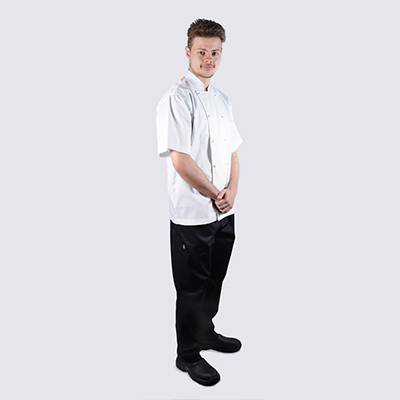Chef jackets White Short Sleeve White Buttons Black Chef Pant