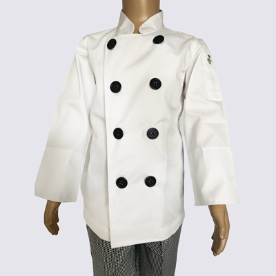 Kids Chef Jacket Black Buttons