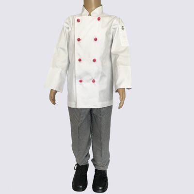 Kids Chef Jacket Pink buttons and Chef Pant set