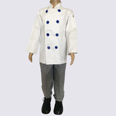 Kids Chef Jacket with Blue buttons and Chef Pant