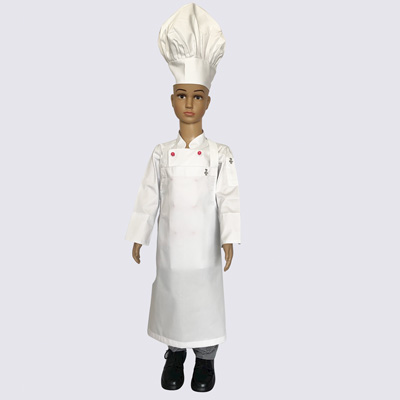 Kids Chef Uniform Set - Jacket with Pink Button, hat, pant and apron