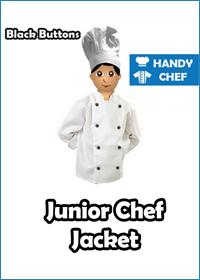 Junior Chef White Jackets with Black Buttons