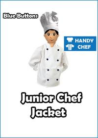Junior Chef White Jackets with Blue Buttons