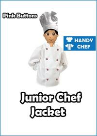 Junior Chef White Jackets with Pink Buttons