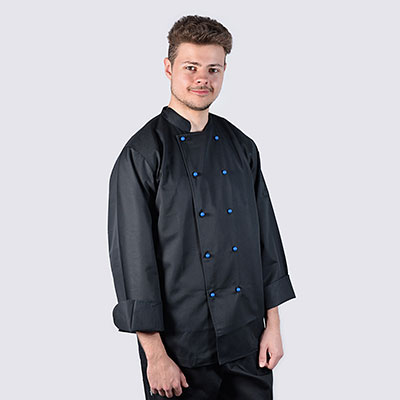 Black Chef Jackets Blue Buttons Long Sleeve