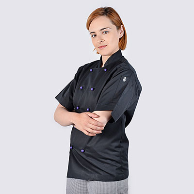 Black Chef Jackets Purple Buttons with Coloured Buttons